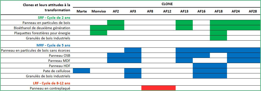 Tableau avec les attitudes productives pour chacun des clones proposés